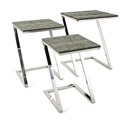 CC Home Furnishings Set of 3 Black and Silver Colored Contem