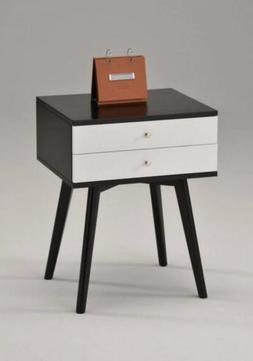 "Black / White Side End Table Nighstand with Two Drawer 24""H"