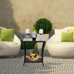 Black Wicker Rattan Side Tea Table with Glass Patio Outdoor