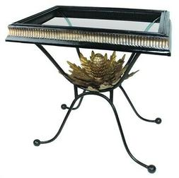 Black Wrought Iron Artichoke Side Table Ornate Gold Accent B