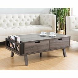 Benzara BM148804 Coffee Table with Side Designed Magazine Ho