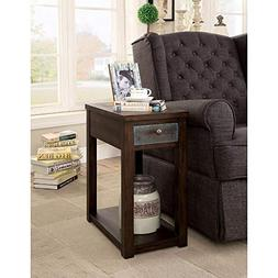 Benzara BM186405 Wooden Side Table with USB Outlet, Brown