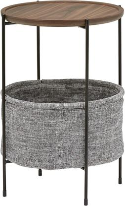 Brand – Rivet Meeks Round Side Table with Fabric Storage B