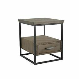 Brown/ Grey Wood and Metal 1-drawer Side Table