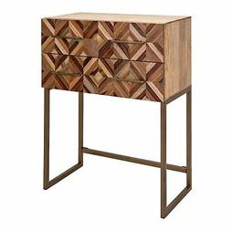 Brown Mango Wood Side Table with 2 Drawers