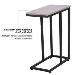 C Shaped Small Narrow End Side Chairside Table Slim Snack Ac