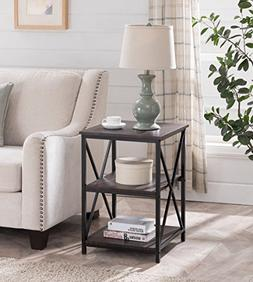 Cappuccino Finish Metal X-Design Chair Side End Table with 3