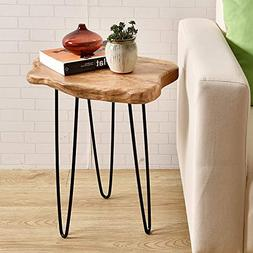 WELLAND Natural Edge End Table, Wood Side Table, Nightstand,