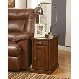 Chair Side End Table Cabinet Storage TV Tray Sofa Power Stat
