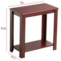 Chair Side End Table with Bottom Shelf, Sofa Side Table for