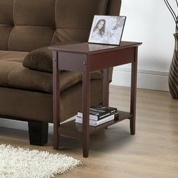 Chair Side Table Flip Top 2-Tier Narrow End Table Hidden Sto