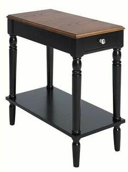 Chair Side Table in Dark Walnut and Black