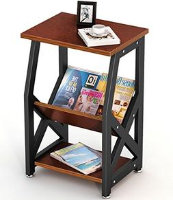 Tribesigns Chairside End Table Nightstand with Storage Shelv