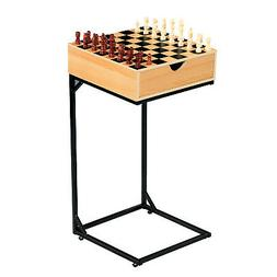 Chess & Checkers Table Set- Wooden Board Game with Storage D