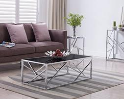 Chrome Finish / Black Glass Top Cocktail Coffee Table with A