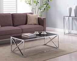 Chrome Finish / Black Glass Top Cocktail Coffee Table with X