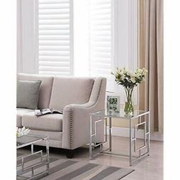 Chrome Finish End Tables / Glass Top Metal Frame Side With S
