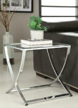Chrome Finish Glass Chair Side End Table
