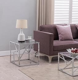 Chrome Finish / Tempered Glass Top Side End Table with Abstr