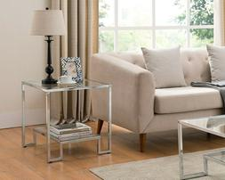 Chrome Glass End Table Furniture Living Room Modern Accent C
