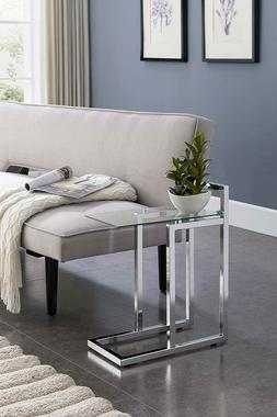Chrome Glass Side Table End Contemporary Modern Snack Sofa M