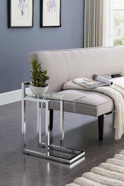 chrome glass side table end contemporary modern