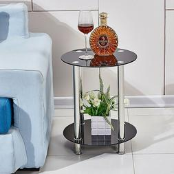 Clear 2 Tier Side Table End Table Glass Top Chrome Legs Sofa