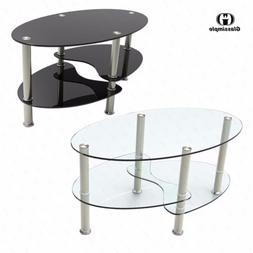 Clear/Black Glass Oval Side Coffee Table Shelf Chrome Base L