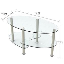 Modern Glass Oval Side Coffee Table Shelf Chrome Base Living