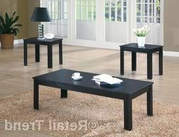 Coffee Table 2 Side End Tables 3 Piece Set Modern Black Livi