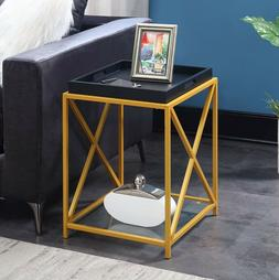 Contemporary Side Accent Table Tray Top Glass Shelves Gold F