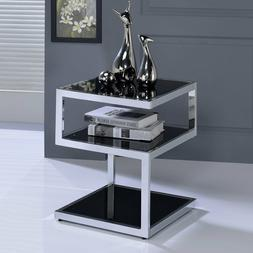 Contemporary Side End Table Spaces Glam Metal Modern Glass A