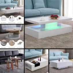 Contemporary Wood & Glass Coffee Table Side / End Table Livi