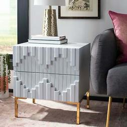 couture alessa zigzag side table grey gold