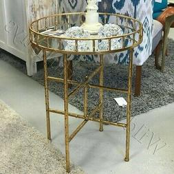 Cross Bar Tray Side Table Antique Gold 26H Mirror Top End Ha