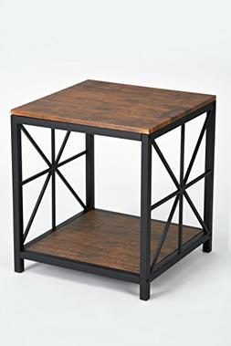 Dark Coffee Black Metal Frame Side End Table with Lower Shel
