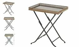 Deco 79 Metal Marble Folding Table Tray, 21 by 25-Inch, Gold