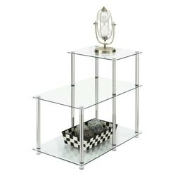 Convenience Concepts Designs2Go 3-Tier Step End Table, Glass