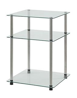 Convenience Concepts Designs2Go 3-Tier End Table, Clear Glas