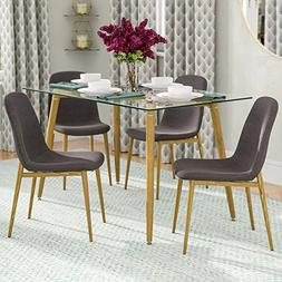 IDS Home Dining Room Chair Set for 4 Wooden Look Pattern Leg