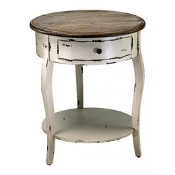Distressed White And Gray 24.5In. Abelard Side Table 02469