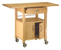 Winsome Wood Double Drop Leaf Kitchen Cart - Cabinet W/ Shel