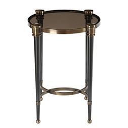 Elegant Black Gray Glass Round Accent Table   Brass Gold Sid