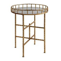 My Swanky Home Elegant Textured Gold Tall Round Accent Table