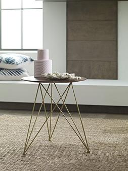 Elle Decor Livvy Side Table, Sienna and Gold
