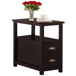 End Table Narrow Chair Side Storage Living Room Brown Nights