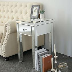 End Table Sofa Side Coffee Table Drawer Storage Mirrored  Fi