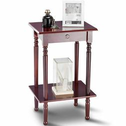 End Table Tall Wood Side Table Accent Style Telephone Stand