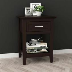 Espresso Finish Modern Nightstand Side End Table with Lower