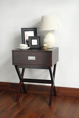 Espresso Finish Modern Side End Table Nighstand with Drawer